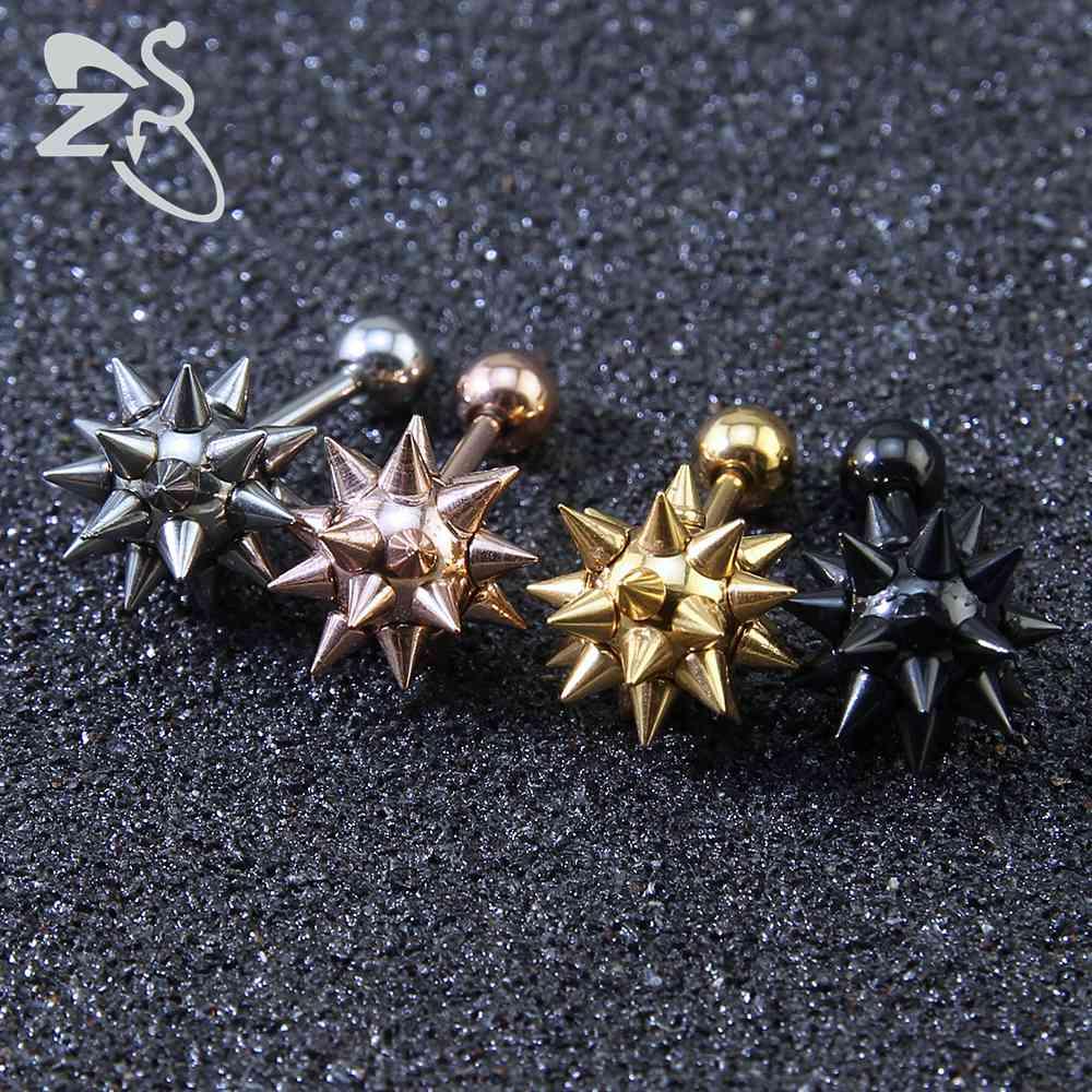 [해외]펑크 패션 스파이크 귀걸이 4 색 스테인레스 스틸 뾰족한 메이스 모양의 스터드 UniFashion 나선형 연골 피어싱 쥬얼리/Punk Fashion Spike Earrings 4 Colors Stainless Steel Spiky Mace Shaped Ear S