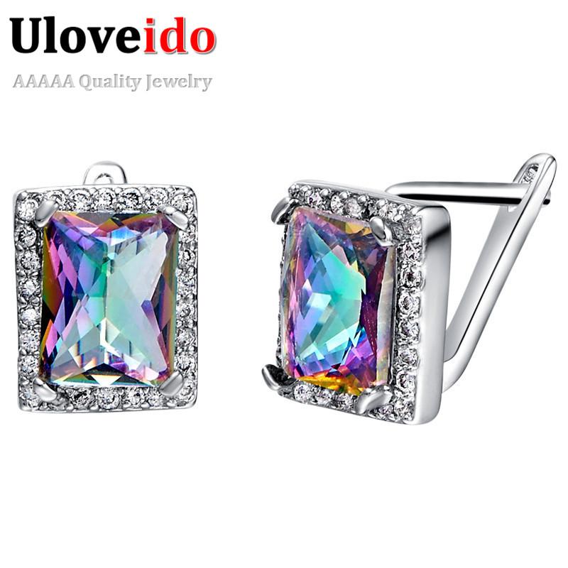 [해외]여성을Uloveido 패션 귀걸이 보석 스터드 EaringsStones 실버 컬러 Brincos 2017 한국어 스퀘어 귀걸이 R767/Uloveido Fashion Earrings for Women Jewellery Stud EaringsStones Silve