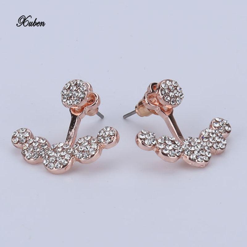 [해외]크리스털 스터드 여성용 귀걸이 장미 골드 컬러 양면 패션 쥬얼리 귀걸이 여성 귀걸이 brincos 2017/Crystals Stud Earring for Women Rose gold color Double Sided Fashion Jewelry Earrings
