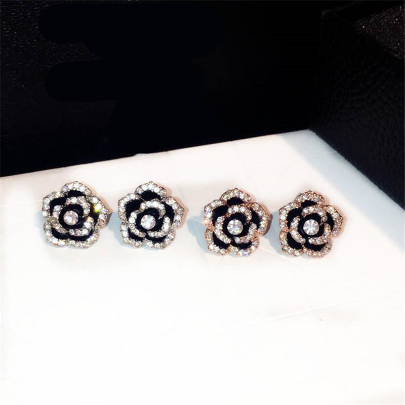 [해외]CX- 셔링 동백 꽃 귀걸이 럭셔리 유명 브랜드 Boucles d & oreille 보석 귀걸이 여성 안티 알레르기 팬시 귀걸이/CX-Shirling Camellia Flowers Earrings Luxury Famous Brand Boucles d&or