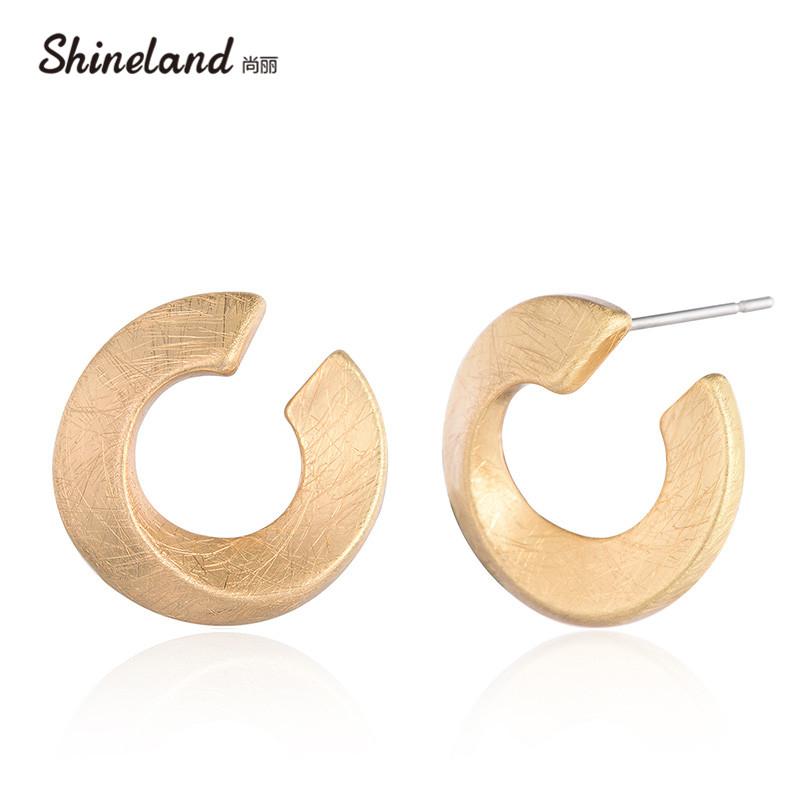 [해외]Shineland 빈티지 간단한 합금 중공업 골드 실버 컬러 핸드 메이드 와이어 드로잉 스터드 귀걸이 펑크 Brincos Femme 액세서리/Shineland Vintage Simple Alloy Hollow Circle Gold Silver Color Hand