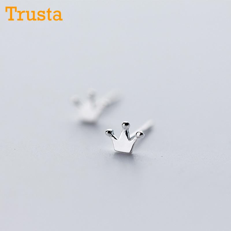 [해외]여성을최신 925 스털링 실버 여성 및 s 쥬얼리 패션 작은 4mmX5mm 크라운 스터드 귀걸이 선물 키즈 레이디 여자 DS246/Trusta Newest 925 Sterling Silver Women&s Jewelry Fashion Tiny 4mmX5mm Cr