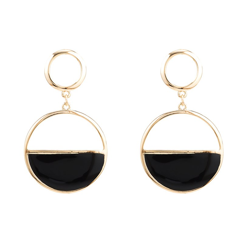 [해외]1 쌍 유럽 패션 여성 라운드 큰 스터드 귀걸이 브랜드 디자이너 중공 검은 문 귀걸이 e0464/1 Pair European Fashion Women Round Big Stud Earrings Brand Designer Hollow Out Black Statem