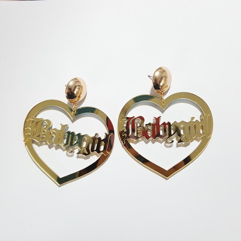 [해외]새로운 패션 아크릴 귀걸이 힙합 황금 편지 심장 큰 트렌디 한 스터드 귀걸이 여성용 롱 귀걸이 쥬얼리 Duftgold/New Fashion Acrylic Earrings Hip Hop Golden Letter Heart Big Trendy Stud Earring