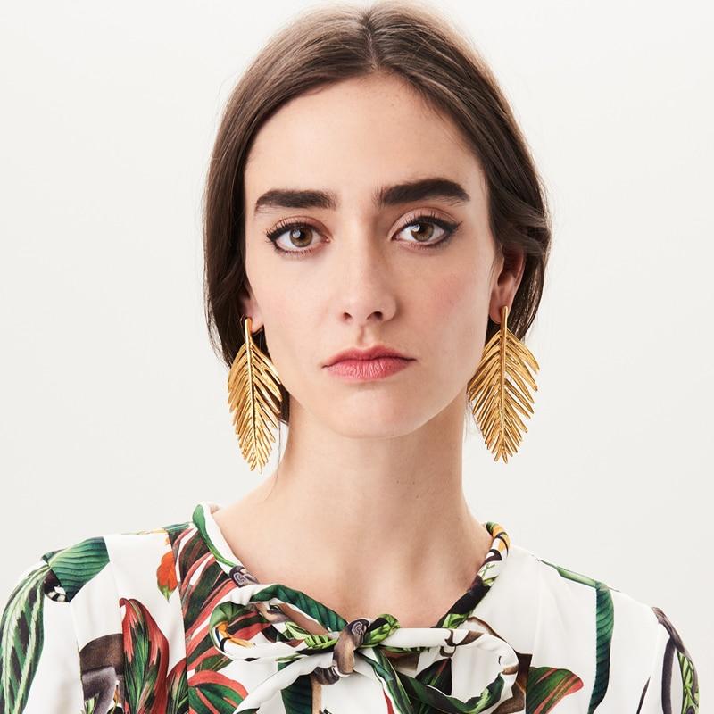 [해외]Vodeshanliwen 여성 패션 악세사리 빈티지 문 귀걸이 쥬얼리에 대한 새로운 패션 골든 라인 스터드 귀걸이/Vodeshanliwen New Fashion Golden Leaf Stud Earrings For Women Accessories  Vintage