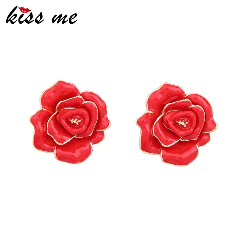 [해외]키스 날 귀여운 빨간 장미 꽃 에나멜 귀걸이 여자를매력적인 큰 합금 스터드 귀걸이 패션 쥬얼리/KISS ME Cute Red Rose Flower Enamel Earrings Charming Big Alloy Stud Earrings for Women Fashi