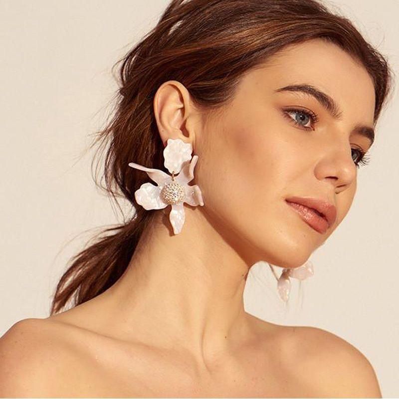 [해외]Mimiyagu 수지 꽃 큰 스터드 여성용 귀걸이 럭셔리 새 Rhinestones 볼 대형 우아한 보석/Mimiyagu  Resin Flower big stud  Earrings for women  Luxury New Rhinestones Balls Large