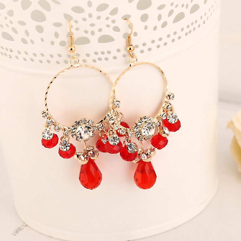[해외]여자 2016 E167에 대 한 YFJEWE 외국 무역 공장 크리스탈 슈퍼 플래시 술의 귀걸이 여성 패션 드롭 귀걸이/YFJEWE Foreign trade factory crystal super flash tassel earrings female fashion