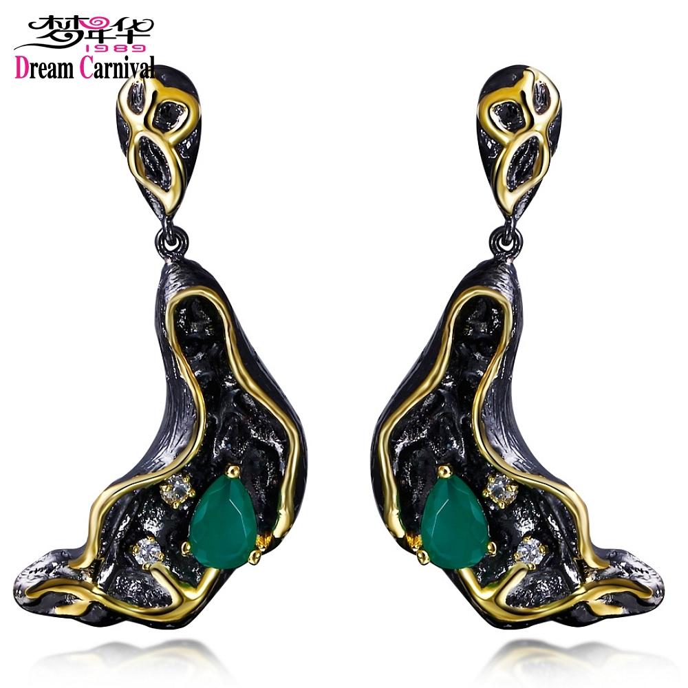 [해외]DreamCarnival 1989 Gothic Seal Design 귀걸이 여성용 힙합 Green CZ Hanging Jewelry 기념일 선물 Pendientes tipo gota/DreamCarnival 1989 Gothic Seal Design Earrin