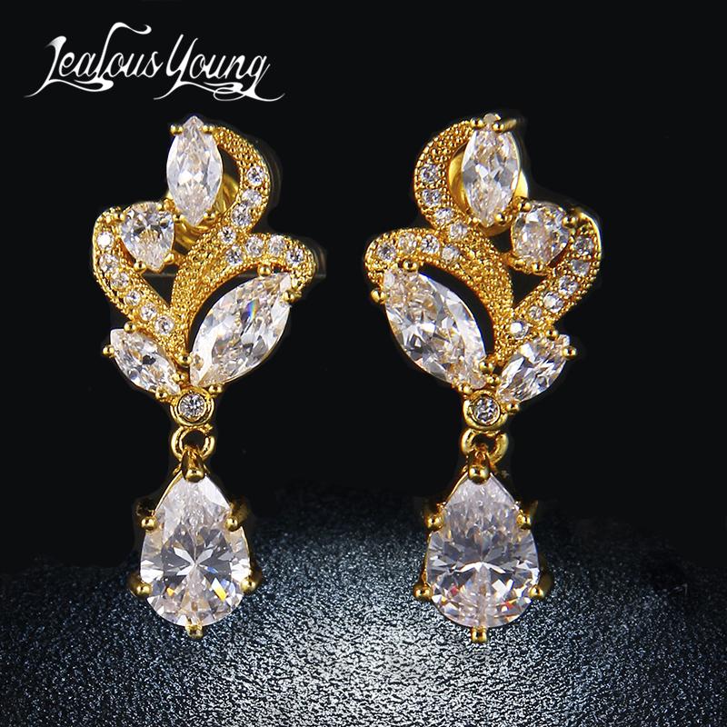 [해외]클래식 여성 골드 컬러 드롭 귀걸이 지르코니아 긴 Earings 여성을귀걸이 귀걸이 꽃 귀걸이 귀걸이 쥬얼리 AE131 귀걸이/Classical Women Gold Colour Drop EarringsZirconia Long Earings For Women Pi