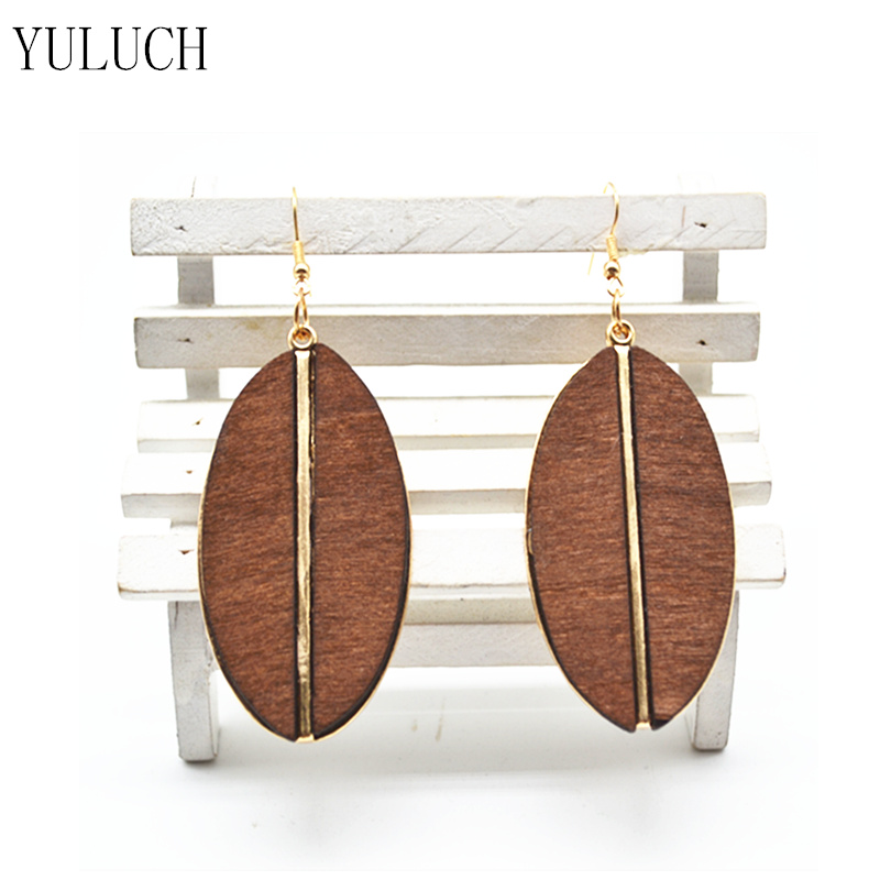 [해외]YULUCH 패션 주얼리 레이디 귀걸이 수제 나무 귀걸이 금속 액세서리 레이디 귀걸이 아프리카 국가 솔리드 컬러 1 쌍/YULUCH Fashion Jewelry Lady Earrings Handmade Wood Earrings Metal Accessories L