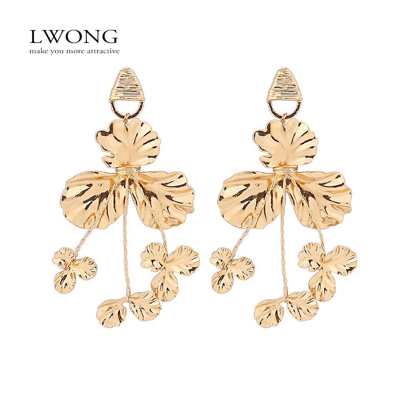[해외]LWONG 바로크 골드 컬러 메탈 플라워 귀고리 여성 진술 대형 귀걸이 수제 래핑 샹들리에 귀걸이 빈티지/LWONG Baroque Gold Color Metal Flower Earrings Female Statement Large Big Earrings Hand