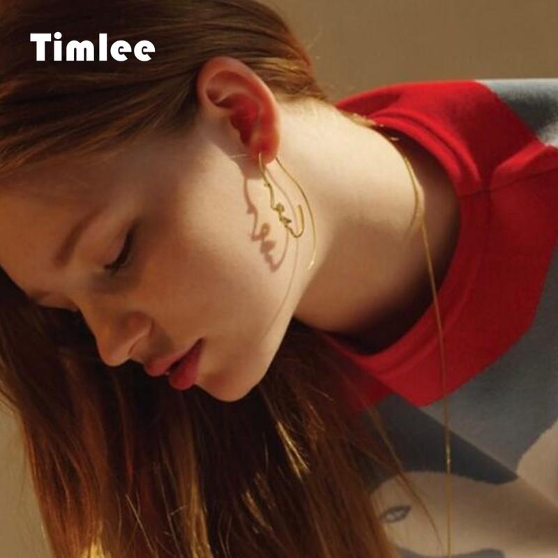 [해외]Timlee E057 계약 된 추상 얼굴 귀걸이 합금 기질 드롭 귀걸이 패션 쥬얼리/Timlee  E057 Contracted Abstract Face Earring Alloy Temperament Drop Earrings Fashion Jewelry whole