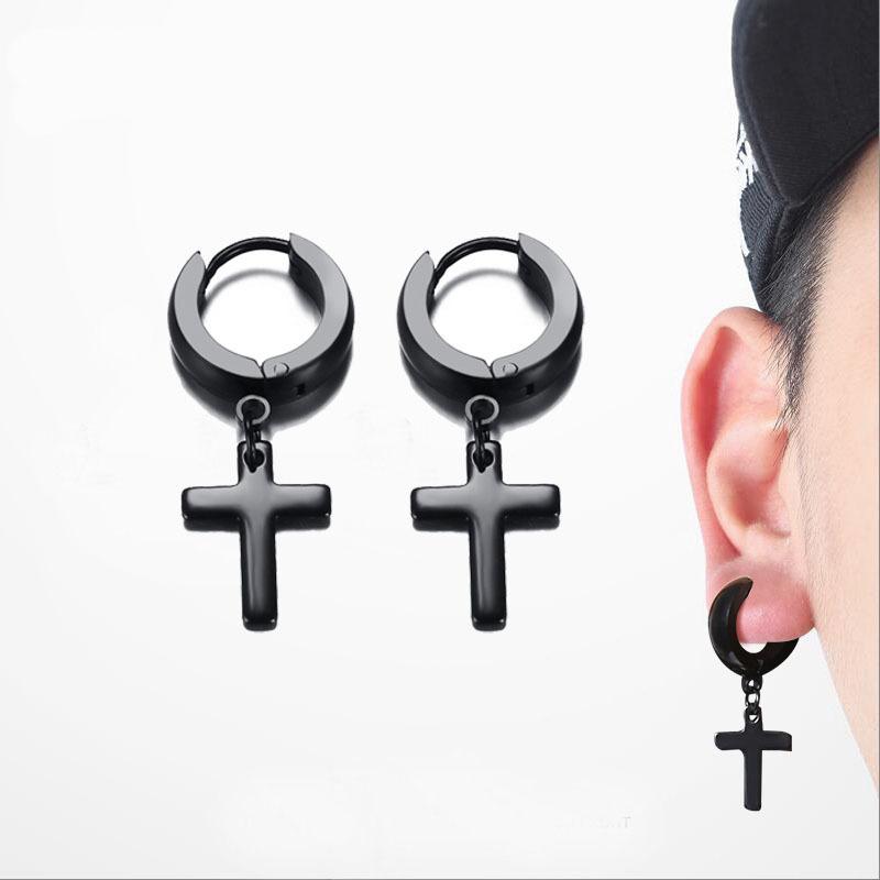 [해외]동그라미 크로스 Huggie 귀걸이 남성 여성을작은 십자가 귀고리 스테인레스 스틸 골드 실버 블랙 펑크 남성 쥬얼리 1pair/Circle Cross Huggie Earrings for Men Women Small Crucifix Cuff Earings Stai