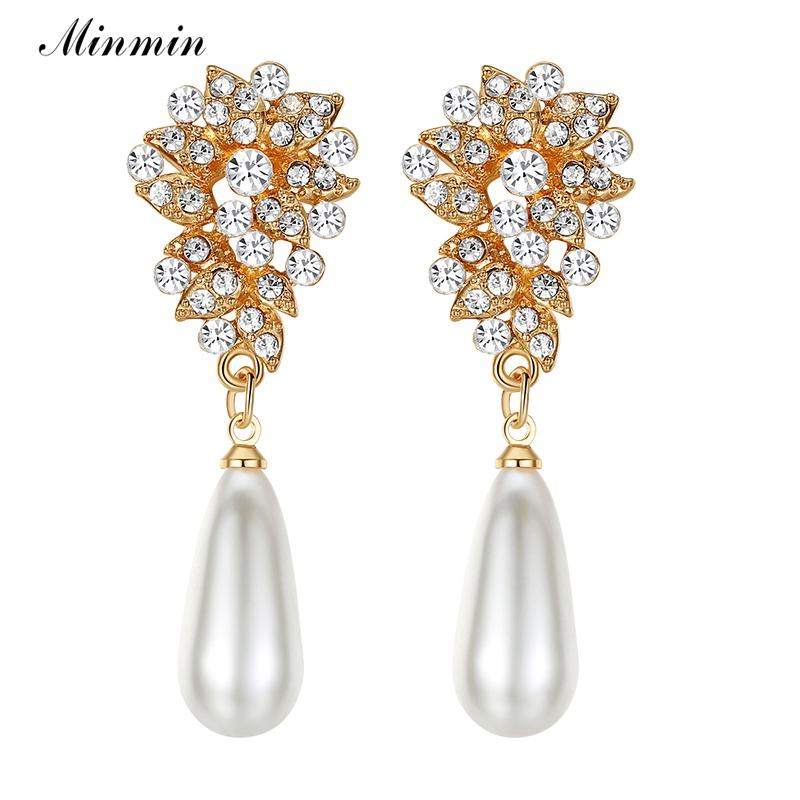 [해외]Minmin 눈물 시뮬레이션 된 진주 긴 귀걸이 여성 골드 골드 크리스탈 귀걸이 신부 웨딩 참여 귀걸이 MEH1024/Minmin Teardrop Simulated Pearl Long Earrings for Women Silver Gold Crystal Earr