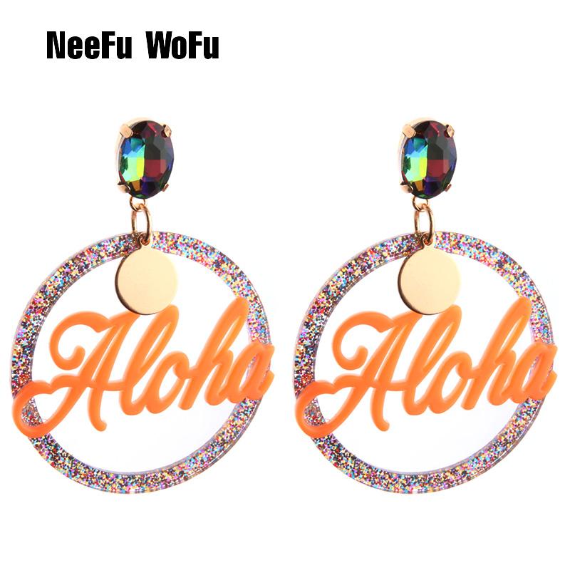 [해외]NeeFu WoFu 편지 크리스탈 긴 귀걸이 여성을큰 플라밍고 대형 귀걸이 수지 Brincos 브랜드 귀걸이 귀 좋은 보석 선물/NeeFu WoFu Letter Crystal Long Earrings Big Flamingo Large Earrings For Wo