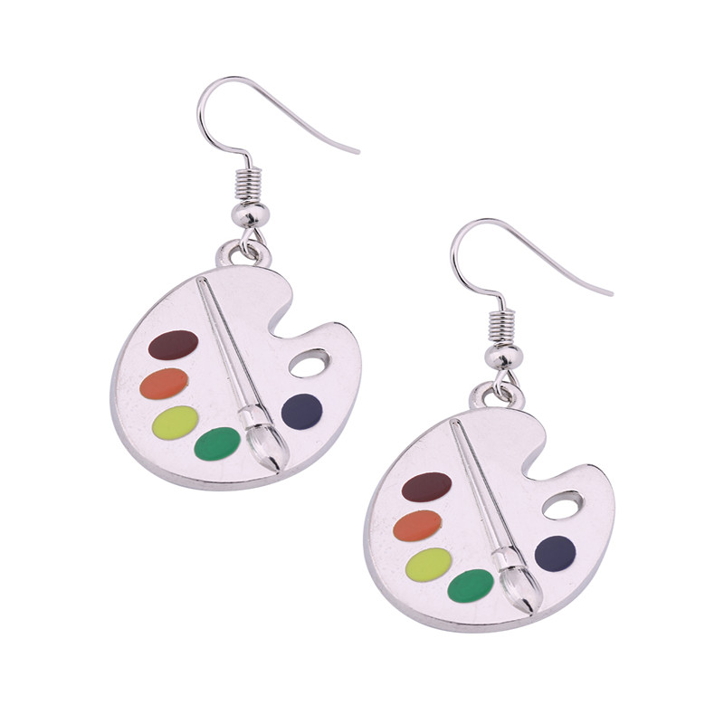 [해외]Teamer Silver Charm 컬러 크리스탈 아티스트 및 팔레트 페인트 플레이트 Dorp Earring Painter & s gift/Teamer Silver Charm Color Crystal Artist&s Palette  Paint Plate