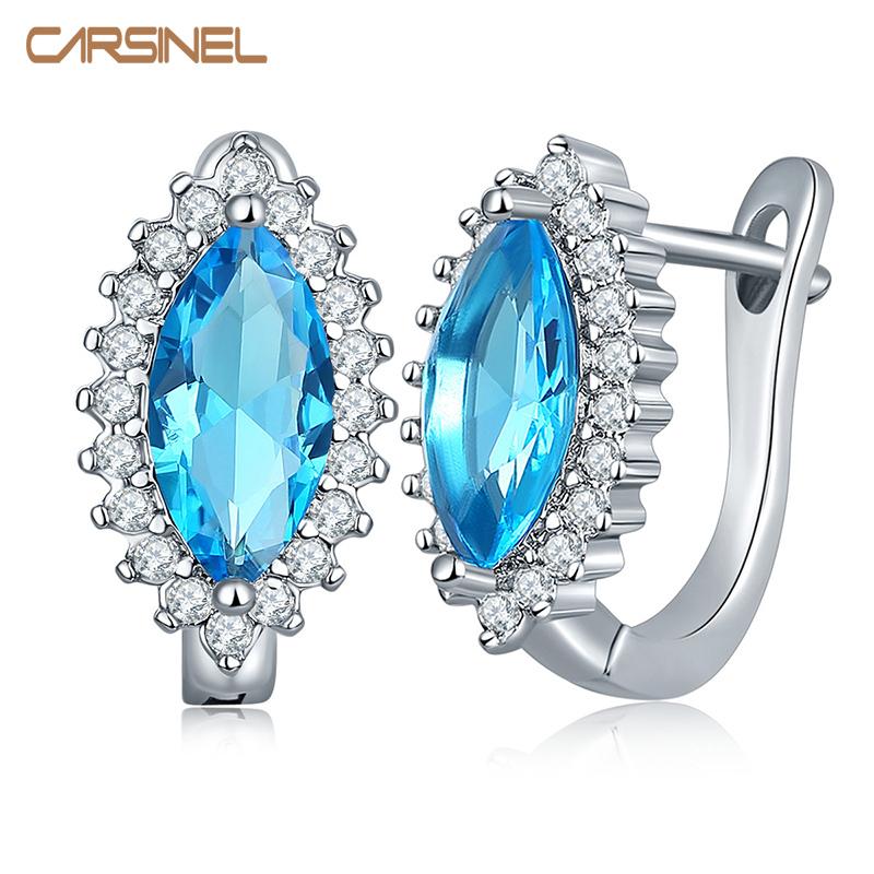 [해외]CARSINEL 트렌디 실버 컬러 후프 귀걸이 다채로운 AAA 지르콘 쥬얼리 귀걸이 여성용 보석 선물 ER0272/CARSINEL Trendy Silver color Hoop EarringsColorful Oval Shape AAA Zircon Jewelry E