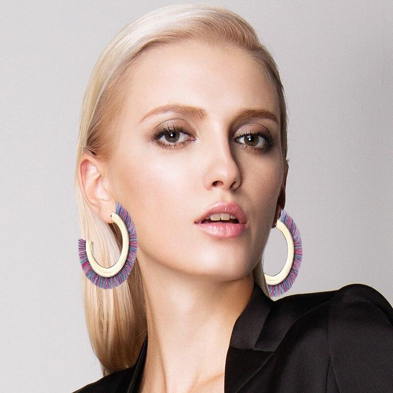 [해외]보헤미안 술 귀걸이 여성을C 타입 합금 후프 귀걸이 여름 Boho 쥬얼리/Bohemian Tassel Earring For Women C Type Alloy Hoop Earring Summer Boho Jewelry