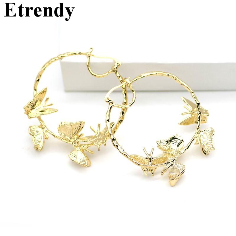 [해외]여성을새로운 후프 귀걸이 금속 문구 나비 귀걸이 빅 2018 활주로 보석 파티 골드 컬러 크리스마스 선물/New Hoop Earrings For Women Metal Statement Butterfly Earrings Big 2018 Runway Jewelry
