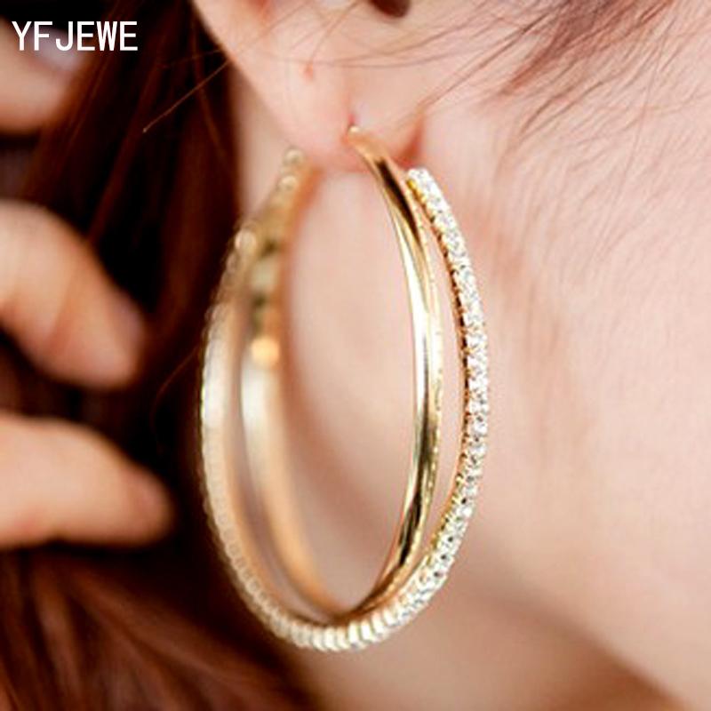 [해외]여자를새로운 빅 후프 귀걸이 패션 빅 라운드 후프 귀걸이 간단한 저녁 E008에 대 한 실버 / 골드 2 색 피어 싱/New Big Hoop Earring For Women  Fashion Big Round Hoop Earrings Simple Pierced S