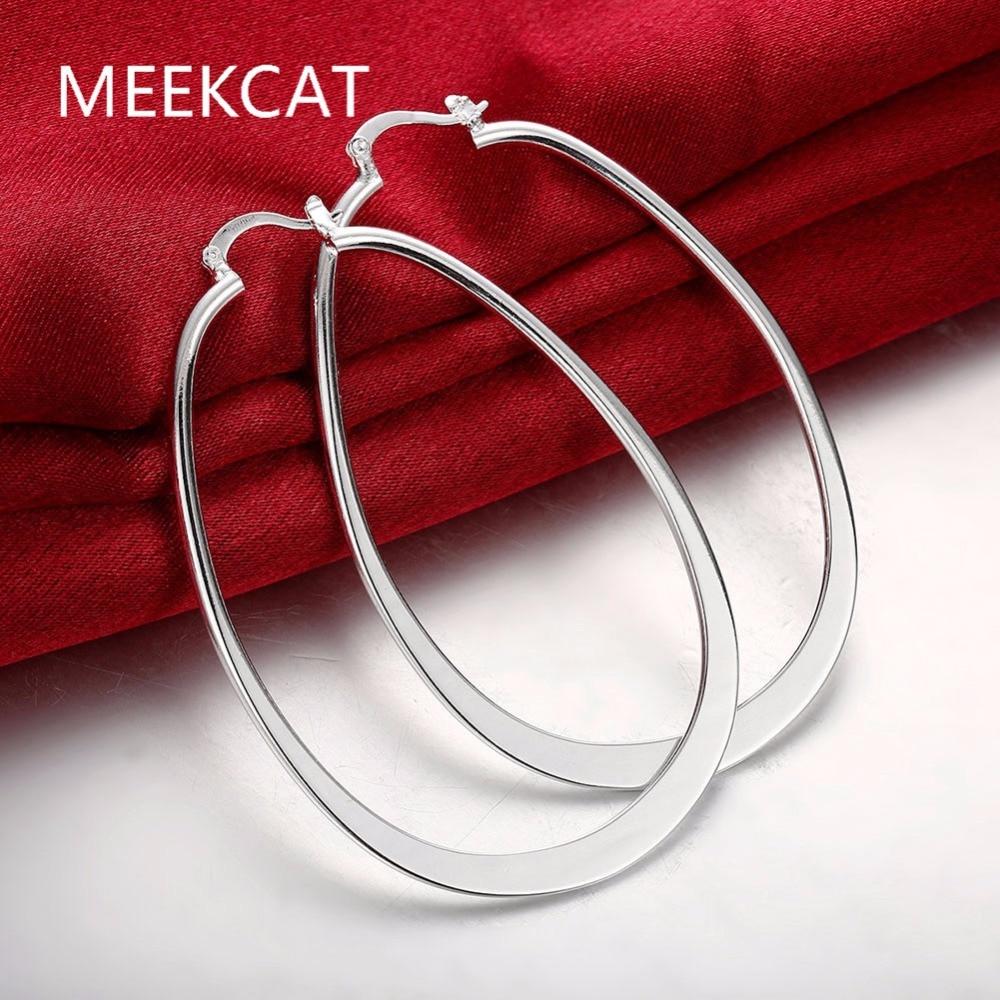 [해외]플랫 U 크리올 큰 서클 후프 귀걸이 925은 도금 된 orecchini 패션 새 주얼리 Brincos 드 Prata 스탬프/Flat U Creole big Circle hoop earrings 925 stamped silver plated orecchini F