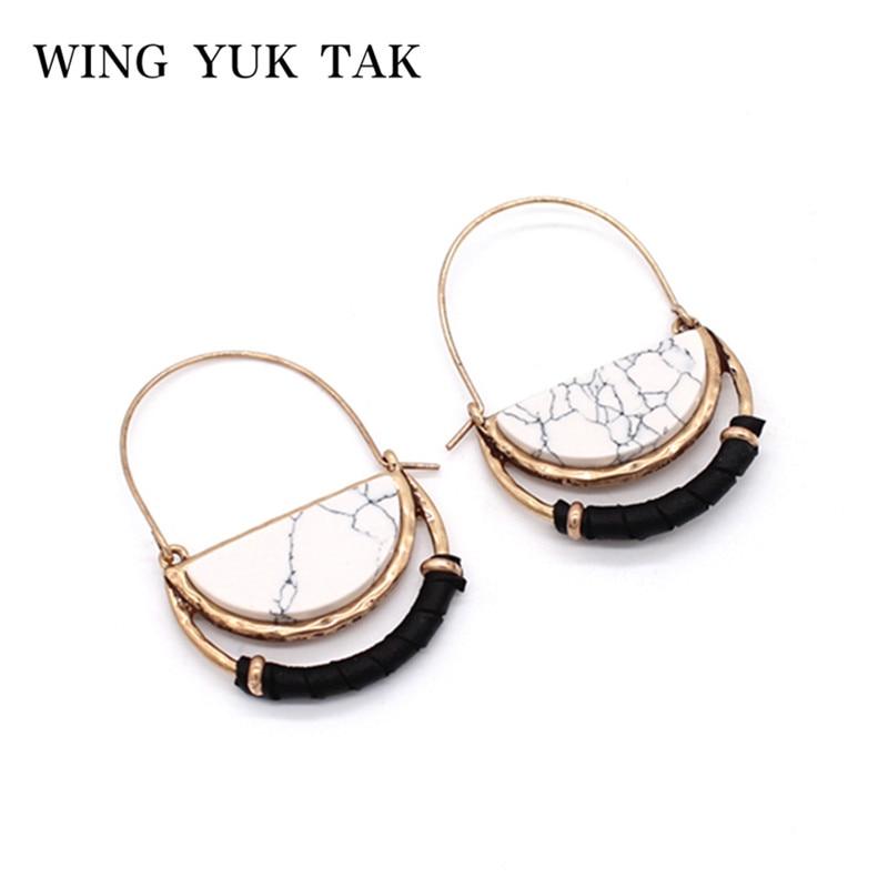 [해외]크리 에이 티브 빈티지 기하학 스톤 후프 귀걸이 4 색 여성을패션 새로운 보헤미안 귀걸이 Brincos 매력 보석/Creative Vintage Geometric Stone Hoop Earrings 4 Color Fashion New Bohemian Earrin