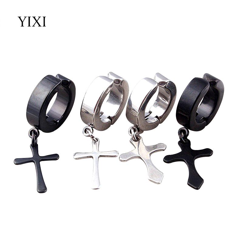 [해외]YIXI 크로스 펑크 남자 귀 커프 클립 피어싱 여자없이 티타늄 귀걸이 커프 패션 쥬얼리 실버 블랙 Earings/YIXI Cross Punk Men Ear Cuff Clip On Earrings Without Piercing Women Titanium Earr