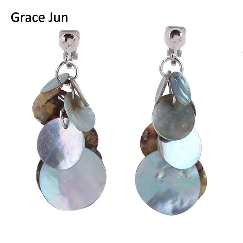 [해외]그레이스 Jun 빈티지 패션 수제 Natrual 쉘 클립 귀걸이에 여성을피어싱 없음 럭셔리 패션 피어싱 귀걸이 Bijoux/Grace Jun Vintage Fashion Handmade Natrual Shell Clip on Earrings No  Pierced