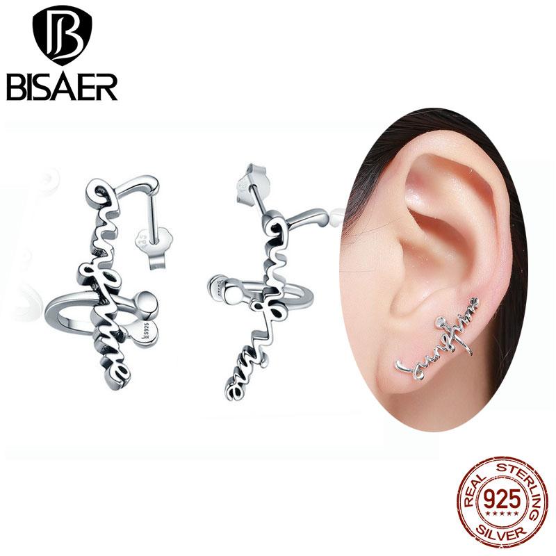 [해외]2018 새로운  100 % 925 스털링 실버 패션 편지 귀걸이 여성 선샤인 클립 귀걸이 웨딩 약혼 보석/2018 NEW Genuine 100% 925 Sterling Silver Fashion Letter Earrings for Women Sunshine C