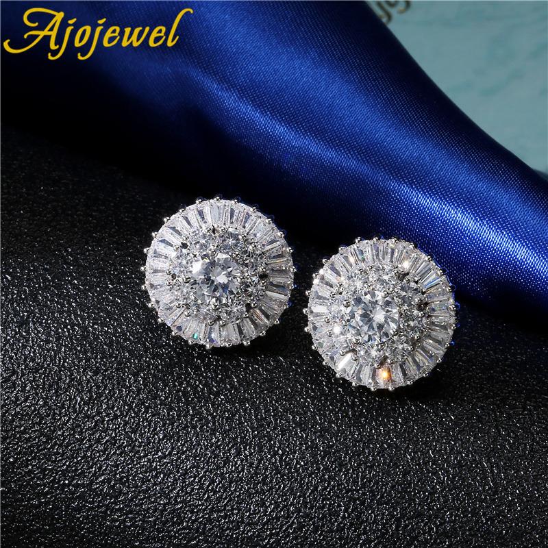 [해외]Ajojewel 여성 눈송이 클립 귀걸이 실버 컬러 보석 AAA 지르콘 더블 귀걸이 여성 2018 새로운 스타일/Ajojewel Female Snowflake Clip Earring Silver Color Jewelry  AAA Zircon Double Earr