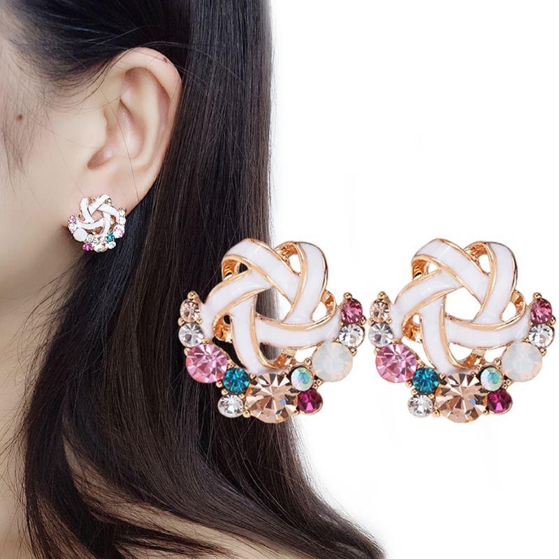 [해외]화려한 라인 석 꽃 귀걸이 귀에 커프스 귀걸이에 피어싱 귀에 클립 여성을웨딩 파티 Brincos/Colorful Rhinestone Flower Earrings Ear Cuff Non Pierced Ear Clip on Earrings For Women Wedd