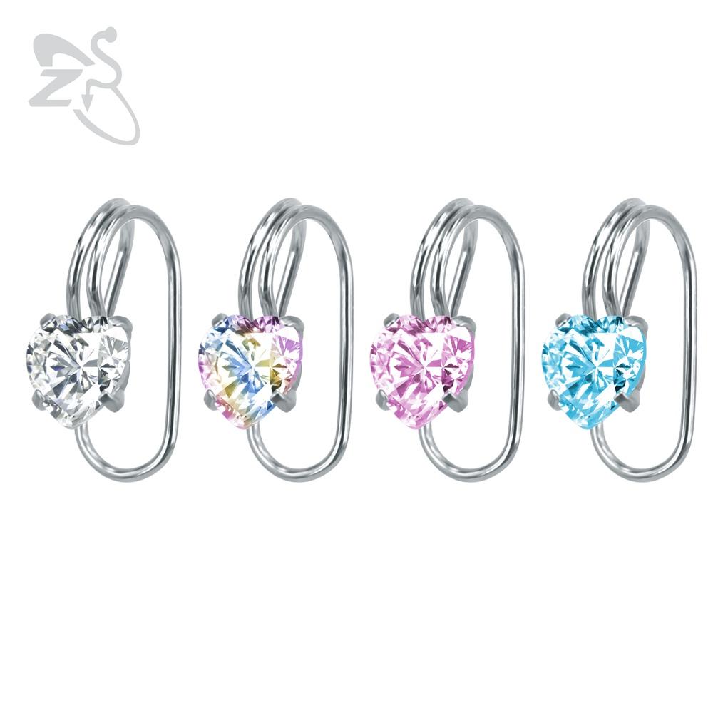 [해외]심장 귀걸이 귀에 클립 귀걸이에 클립 귀걸이에 크리스탈 지르코니아 클립 피어싱 귀 여성 여성 귀 클립 클립 스터드 귀걸이/Heart Earring Ear Cuff Clip On Earrings Crystal Zirconia Clip on Earrings No P