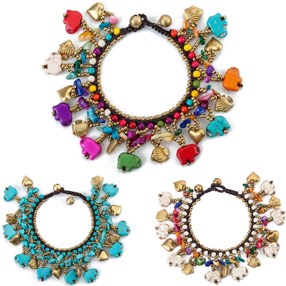 [해외]AMOURJOUX 민족 수제 3 색 코끼리 비즈 다층 세라믹 돌 매력 팔찌 여성 보헤미아 여성용 팔찌/AMOURJOUX Ethnic Handmade 3 Colors Elephant Beads Multilayers Ceramic Stone Charm Bracele