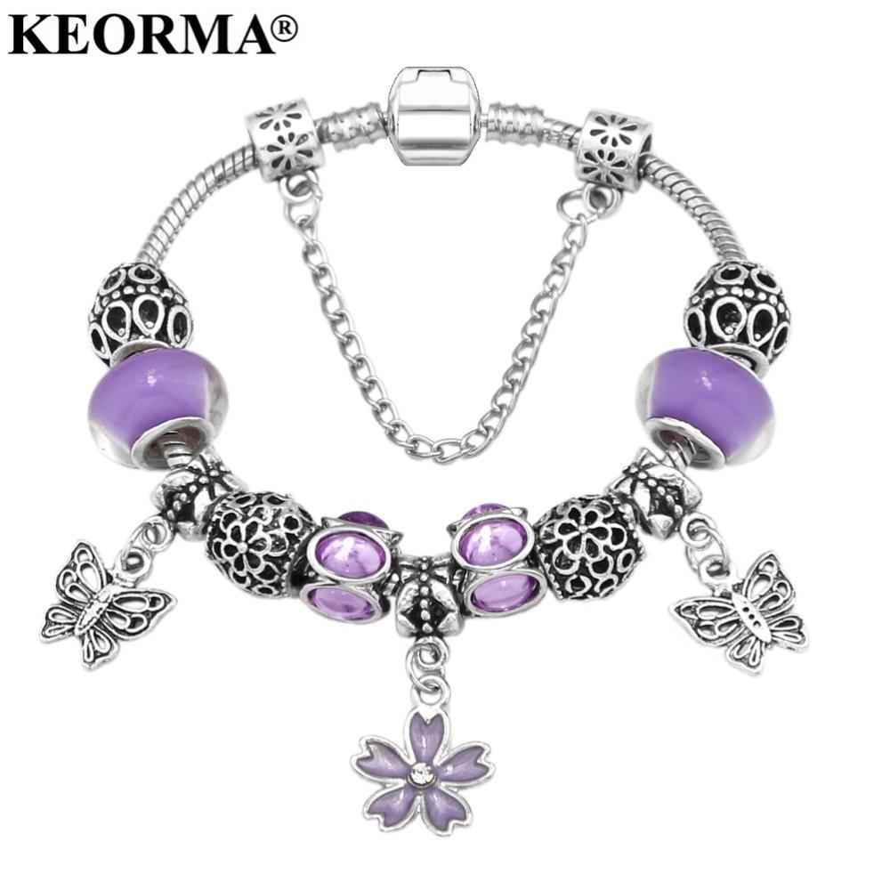 [해외]새로운 유럽 골동품 실버 보라색 라인 석의 매력 수제 매력 팔찌 맞는 팬 팔찌 & amp; 여성용 Bangles/New European Antique Silver Purple Rhinestone Charm Handmade Charms Bracelet fi