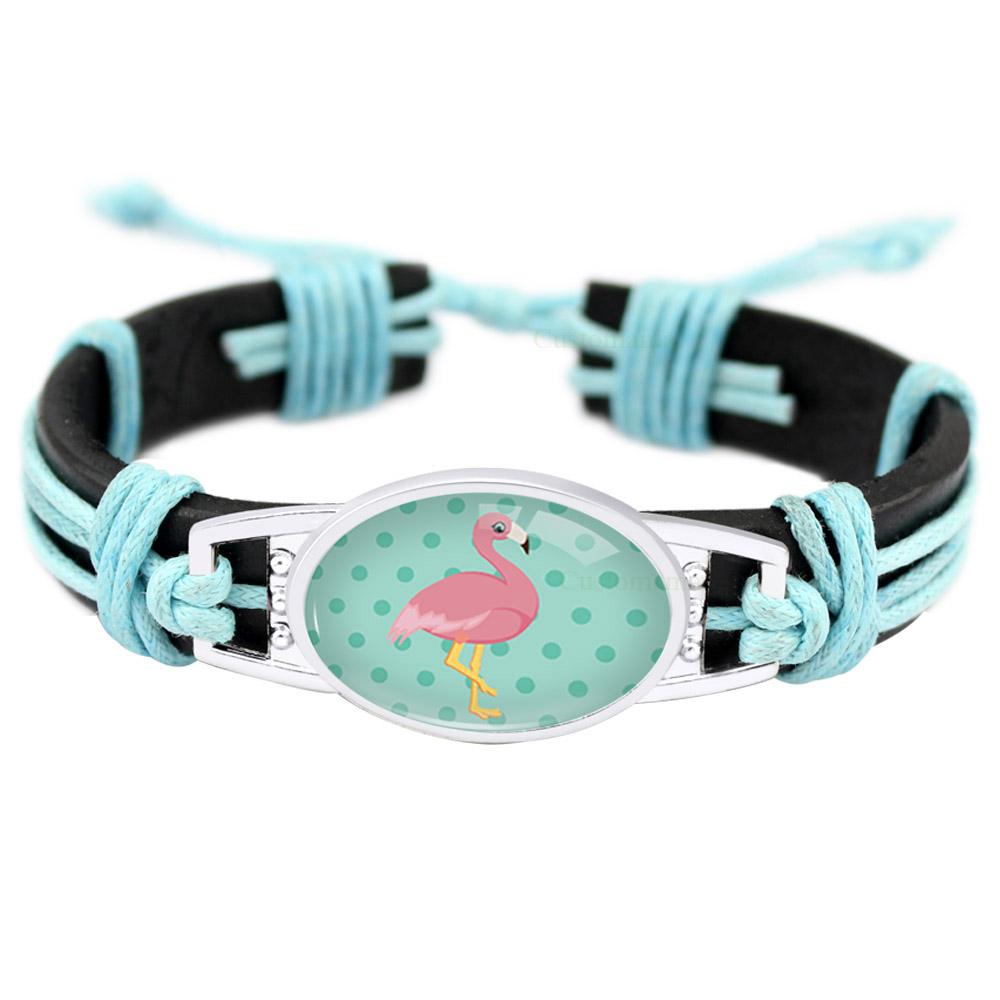 [해외]홍학 유니콘 동물의 매력 핑크 베이비 블루 왁스 블랙 조절 가능한 가죽 팔찌 여자 남자 여자 소년 보석 선물 많은 스타일/Flamingo Unicorn Animal Charm Pink Baby Blue Wax Black Adjustable Leather Brac