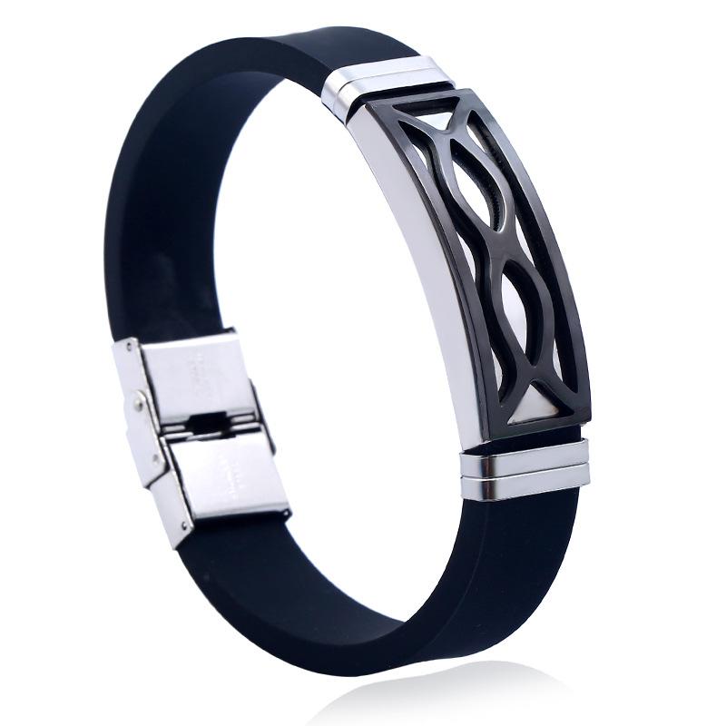 [해외]계약 모든 일치 스테인레스 스틸 팔찌 블랙 실리콘 팔찌 기하학적 기호 매력 팔찌 레이스 크리스마스 선물/Contracted All-match Stainless Steel Bracelets Black Silicone Wristbands Geometric Symbo
