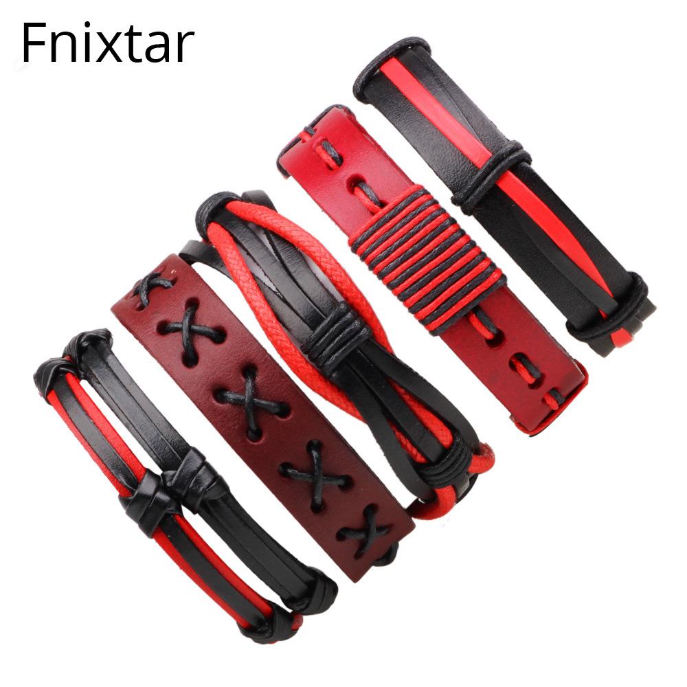 [해외]Fnixtar 펑크 가죽 팔찌 & amp; 여자를Bangles 남자 보석 유행 다층 팔찌 생일 선물 팔목 팔찌 5pcs / set/Fnixtar Punk Leather Bracelets & Bangles Men Jewelry Fashion Mult