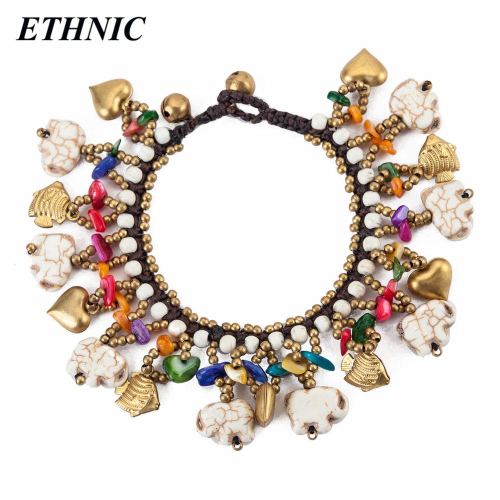 [해외]ETHNIC 브랜드 레트로 Boho 화이트 코끼리 모양의 구슬 여성을매력 팔찌 패션 팔찌 골드 컬러 체인 페르시/ETHNIC Brand Retro Boho White Elephant Shaped Beads Charm Bracelets for Women Fashi