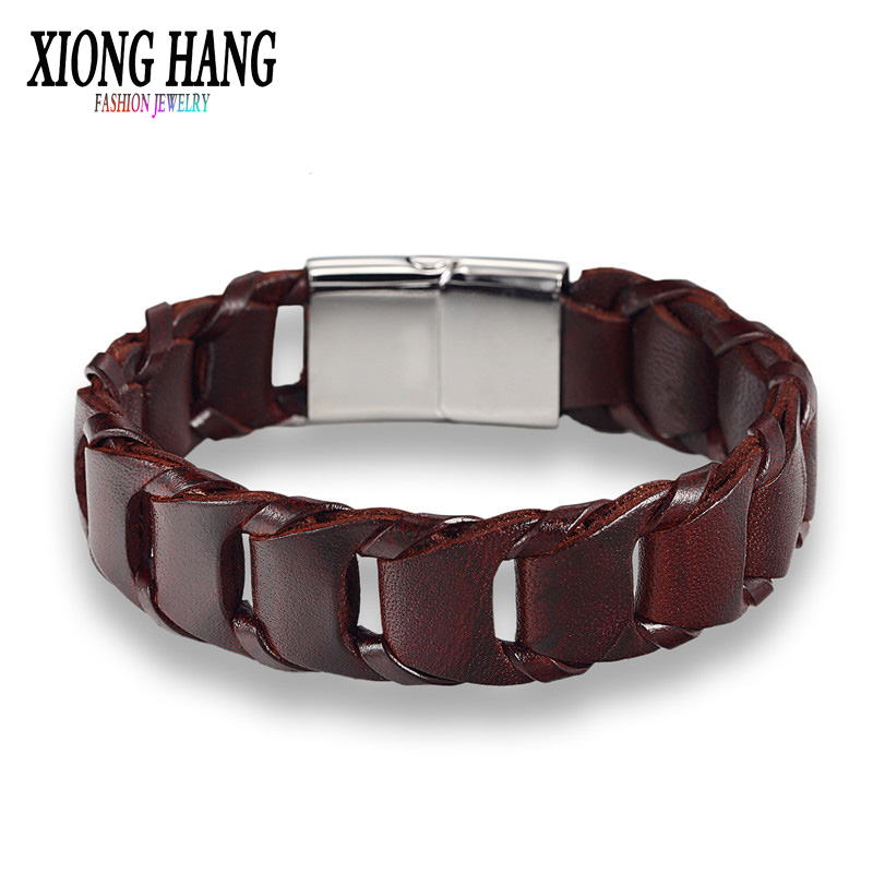 [해외]XiongHang 가죽 팔찌 클래식 매력 자력으로 버클 남성 쥬얼리 남자 & S 스테인레스 스틸 팔찌 Bangle/XiongHang Leather Bracelet Classic Charm Magnetically Buckled Male Jewelry Men