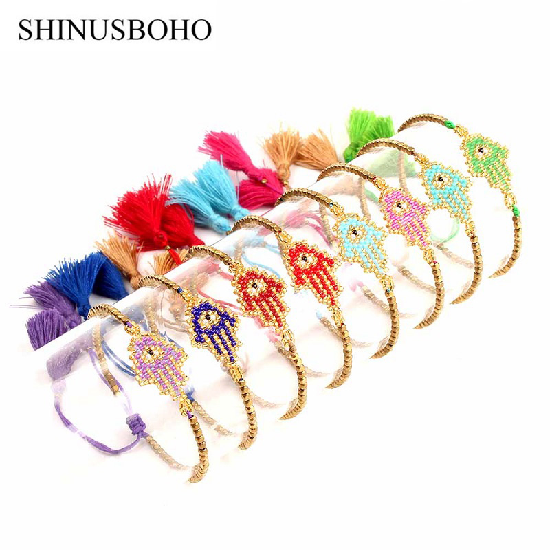 [해외]SHINUSBOHO 8color Kabbalah Tassel 나사 Hamsa 팔찌 블루 터키의 악의의 눈 매력 여성 수제 파티마 우정 쥬얼리/SHINUSBOHO 8color Kabbalah Tassel Thread Hamsa Bracelets Blue Turki