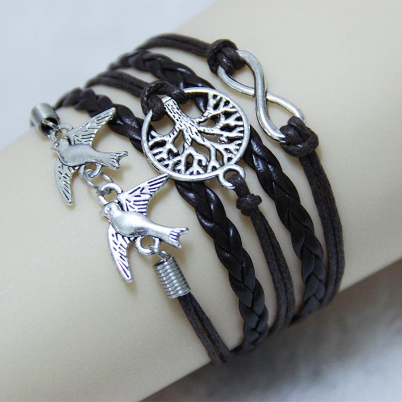 [해외]무한대의 생명의 나무 & amp; 비둘기 매력 팔찌 수제 가죽 묶는 팔찌 & amp; Bangles 남성과 여성에게 최고의 선물을 줘/Infinity Tree Of Life & Dove Charm Bracelet Handmade Leathe