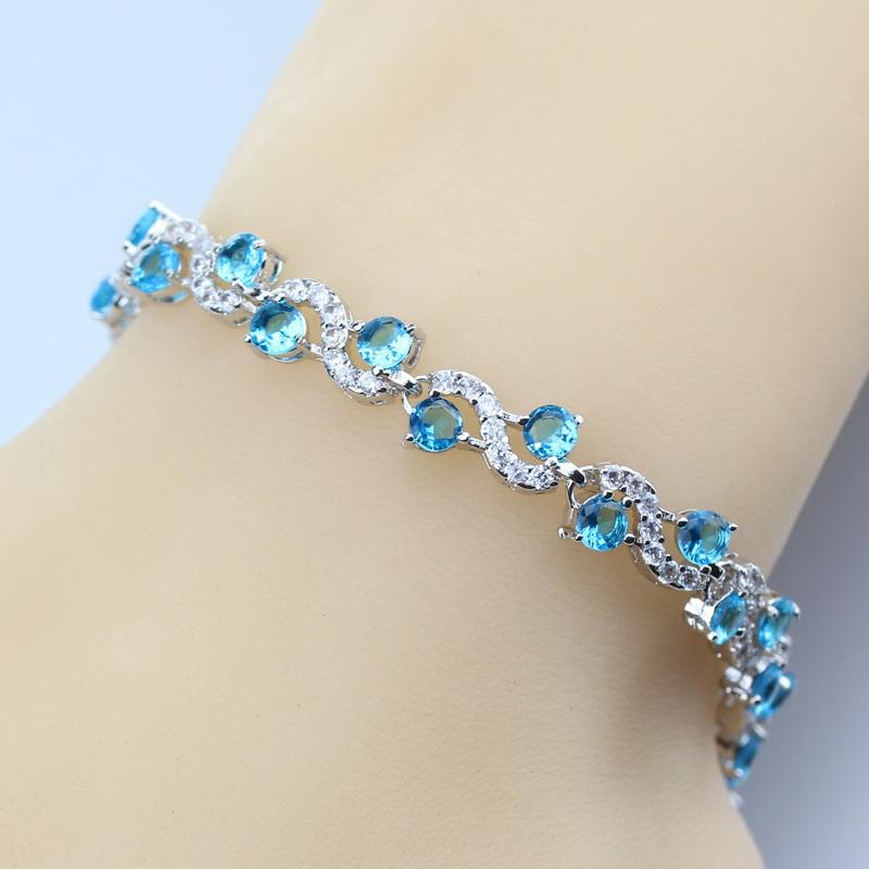 [해외]2017 새로운 925 실버 컬러 링크 체인 팔찌 라이트 블루 화이트 크리스탈 여성 결혼 보석과 선물 상자 SL60/2017 New 925  Silver Color Link Chain Bracelet Light Blue White Crystal Women Wed