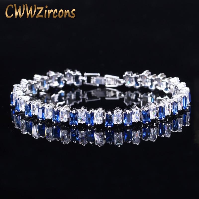 [해외]CWWZircons 패션 브랜드 럭셔리 쥬얼리 실버 컬러 Suqare AAA 큐빅 지르코니아 여성용 브레이슬릿 블루 그린 크리스탈 CB092/CWWZircons Fashion Brand Luxury Jewelry Silver Color Suqare AAA Cub