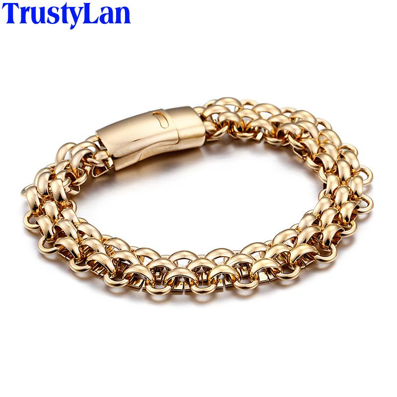 [해외]TrustyLan 트렌디 한 반짝이 스테인레스 스틸 남성 팔찌 스타일 주얼리 골드 컬러 팔찌 남성 파티 쇼 선물 보석/TrustyLan Trendy Shiny Stainless Steel Mens Bracelets Weaved Style Jewelry Gold