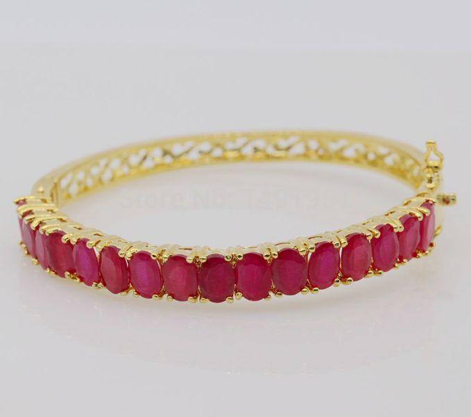 [해외]JINYAO 패션 정교한 부적 옐로우 골드 색상 자연 지르콘 팔찌 팔찌 여성을웨딩 쥬얼리/JINYAO Fashion Exquisite Charm Yellow Gold Color Natural Red Zircon Bracelet Bangle For Women We