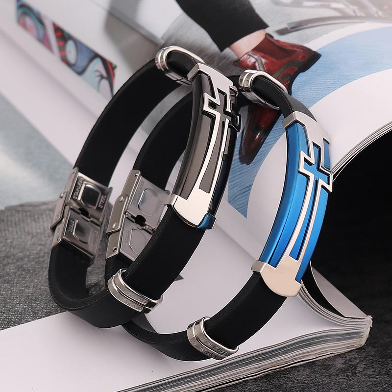 [해외]DoreenBeads 티타늄 스틸 패션 팔찌 블랙 실리카 크로스 패턴 패션 주얼리 개성 선물, 1 피스 2018/DoreenBeads Titanium Steel Fashion Bracelet Black Silica  Silver Cross Pattern Fash