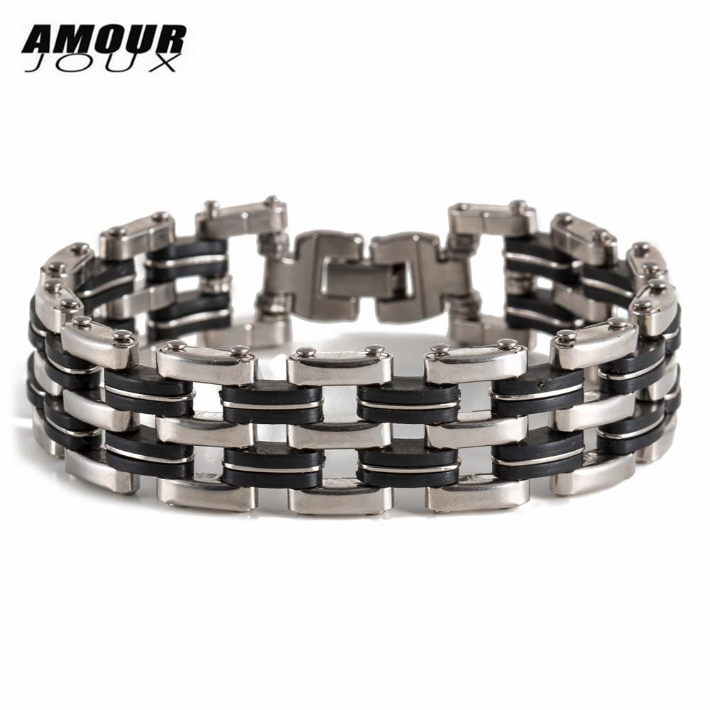[해외]AMOURJOUX 패션 오토바이 체인 블랙 실리콘 스테인레스 스틸 팔찌 유행 팔찌 Bangles 남자 패션 쥬얼리/AMOURJOUX Fashion Motorcycle Chain Black Silicone Stainless Steel Bracelet Trendy