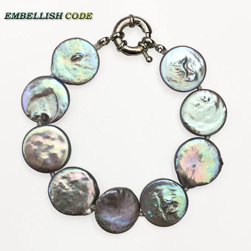 [해외]2018 바로크 진주 팔찌 Bangles 회색 화려한 컬러 플랫 라운드 동전 모양 큰 크기 진짜 담수 진주 여성을특별한/2018 baroque pearl bracelet Bangles gray colorful color flat round coin shape b