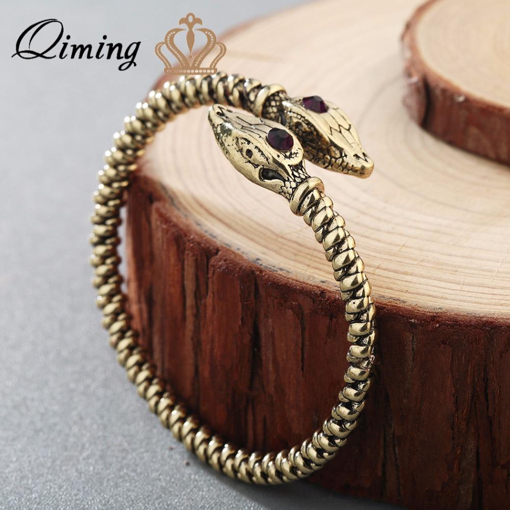 [해외]QIMING 오픈 커프 쥬얼리 Jormungandr 바이킹 팔찌 Bangle Snake Nail 중세 V 노르웨이 쥬얼리 남자 팔찌/QIMING Open Cuff Jewelry Jormungandr Viking Bracelet Bangle Snake Nail M